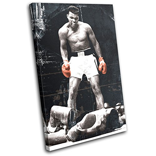 Bold Bloc Design - Boxing Muhammad Ali Liston Sports 90x60cm SINGLE Canvas Art Print Box Framed Picture Wall Hanging - Hand Made In The UK - Framed And Ready To Hang ()