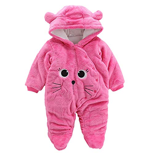 FEITONG Newborn Baby Girls Boys Solid Cartoon Cat Thickening Hooded Jumpsuit Hooded Romper Bodysuit(18-24M,Hot Pink) -