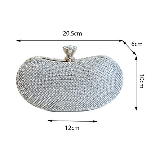 Clutch Diamond Bag Diamond Super Messenger Bag Ms Party Shoulder Evening Dress Chain Rhinestone Bag Oval Dinner Bright Luxury WUHX Silver Evening 5fHqW