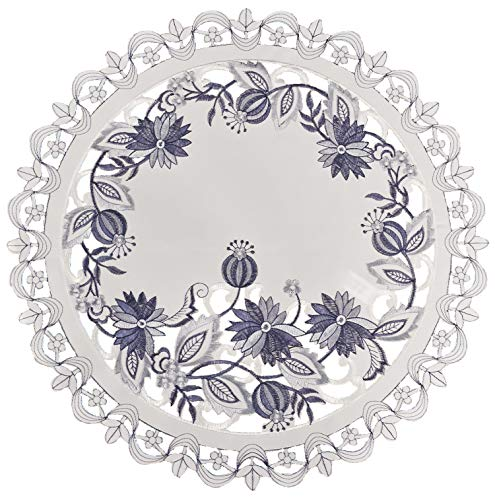 (Linens, Art and Things Embroidered Delft Blue Onion Flower Place Mat Doily 16