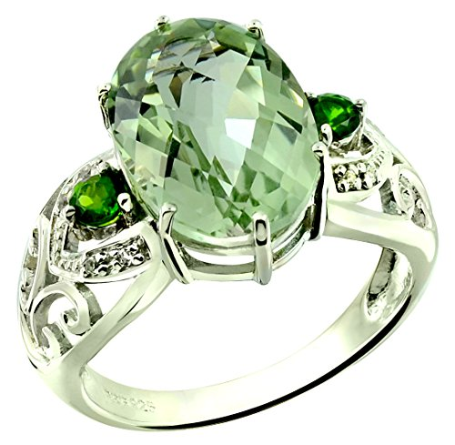 Genuine Checkerboard Green (RB Gems Sterling Silver 925 Ring GENUINE GREEN AMETHYST and CHROME DIOPSIDE 5.91 Cts with RHODIUM-PLATED Finish (8, prasiolite-quartz))