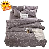 BuLuTu Bedding Constellation Print Queen Bedding Sets Cotton Reversible Space Kids Duvet Cover Sets Full Size 3 Pieces for Kids Adults Zip Zipper with Ties,Gift for Him,Her,No Comforter