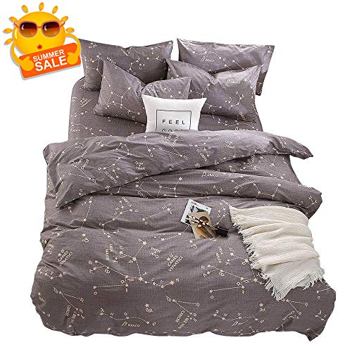 BuLuTu Bedding Constellation Print Queen Bedding Sets Cotton Reversible Space Kids Duvet Cover Sets Full Size 3 Pieces for Kids Adults Zip Zipper with Ties,Gift for Him,Her,No Comforter (Queen Duvet Cover Space)