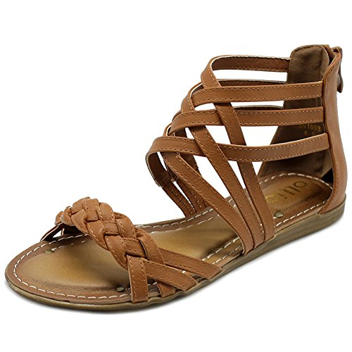 (Ollio Women's Shoes Gladiator Strappy Zip Closure Multi Colors Sandals M1803(8 B(M) US, Brown))