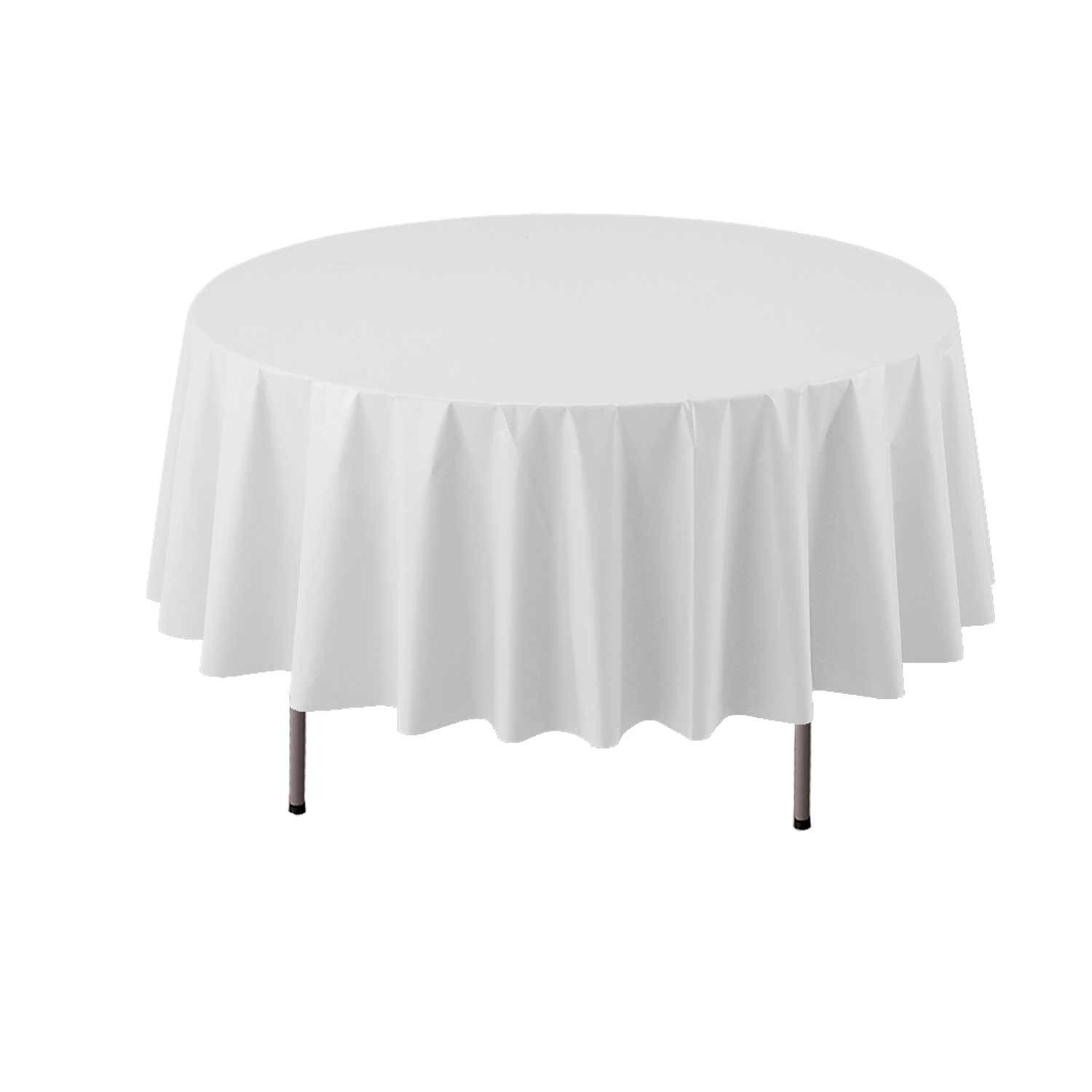 White Party Essentials Heavy Duty 84  Round Plastic Table Cover Available in 22 colors, Silver