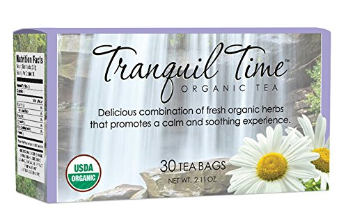 Tranquil Time Tea - 100% USDA Organic - Caffeine Free - Sleep Good - Be Calm - Relax - Stress Relief - Blended with Chamomile, Spearmint, Licorice, Lemongrass and Valerian Root - 30 bags