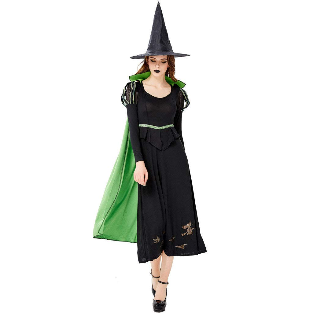 jin&Co Women Halloween Costumes Long Sleeve Cloak Cosplay Witch Costume Maxi Dress + Hat Outfits Set Party Dress Up Black