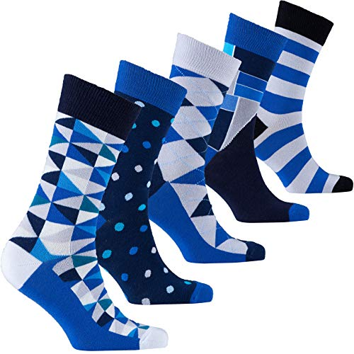 Socks n Socks-Men's 5-pair Luxury Fun Cool Cotton Colorful Mix Socks Gift Box -