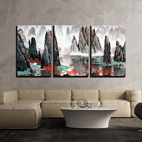 - wall26 3 Piece Canvas Wall Art - Chinese Landscape Misty Mountains and Water - Modern Home Decor Stretched and Framed Ready to Hang - 16