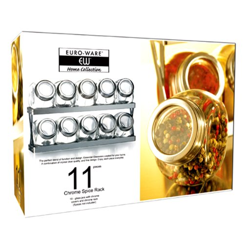 2-TIER 11 PIECE GLASS AND CHROME SPICE RACK
