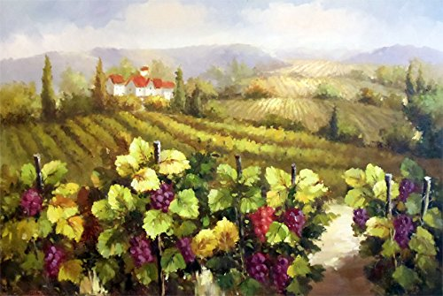 100% Hand Painted Oil Painting on Canvas Wall Art, Tuscany Vineyard Wine Napa Sonoma Paris France Venice Italy Cafe Oil Painting Reproduction (Tuscany Oil Painting)