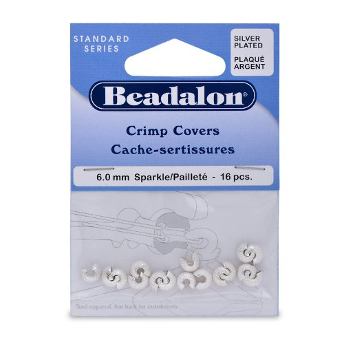 Cover Use Crimp - Artistic Wire Beadalon Crimp Cover 6mm Sparkle Nickel Free Silver, Plated, 16-Piece