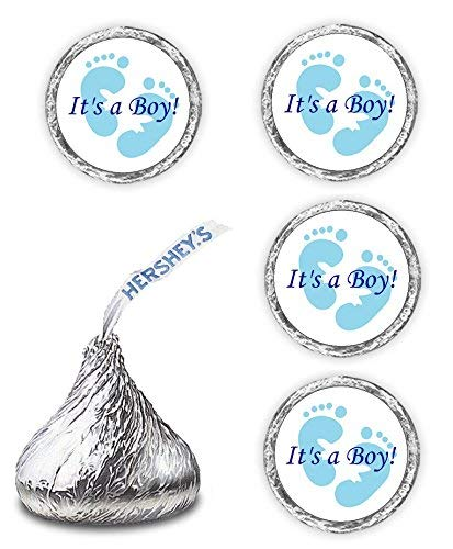 108 Its A Boy Blue Footprints Baby Shower Party Kisses Labels Favors Stickers (Party Shower Favor Bags Baby)