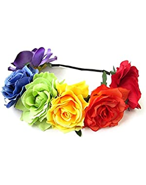Women's Hawaiian Stretch Rose Flower Headband Floral Crown for Garland Party BC12