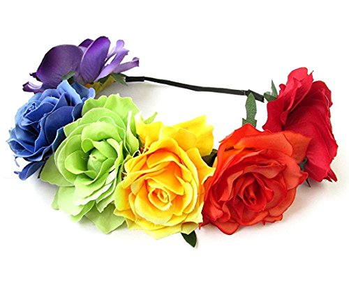 DreamLily Rainbow Rose Hawaiian Stretch Flower Headband for Garland Party (Rainbow)