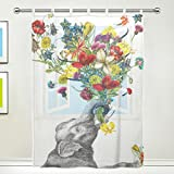JSTEL Elephant Art Pattern Floral Print Tulle Voile Door Window Room Sheer Curtain Drape 1 Panel Scarf Valances Wide Width Gauze Curtain for Bedroom 55 x 78 Inch , Single panel