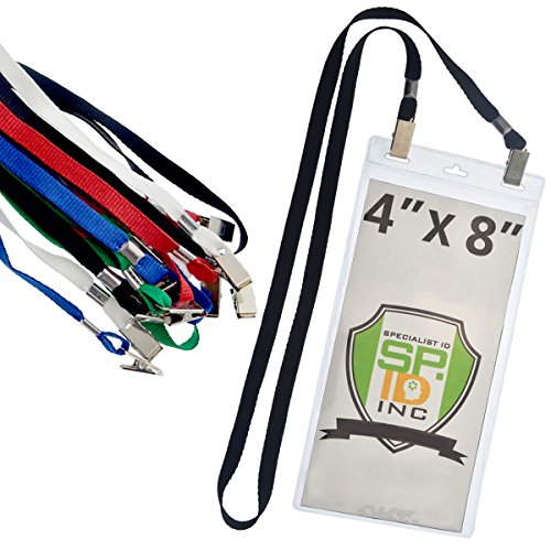 5 Pack - Extra Large 4 x 8 Inch Ticket & Event Credential Badge Holders with Double Sided Lanyards with Two Bulldog Clips, by Specialist ID (Assorted Colors) (Holder Baseball Ticket)