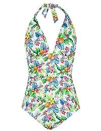 Hilor Women's Plunge Deep V Neck One Piece Swimsuit Tummy Control Monokinis Bikinis 14 Pineapple