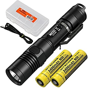 Nitecore MH12GT 1000 Lumen Long Throw USB Rechargeable Flashlight (MH12 Upgrade) w/ 2x High Capacity Batteries and LumenTac Battery Organizer