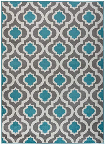 Antep Rugs Kashan King Collection 505 Trellis Polypropylene Indoor Area Rug Blue and Cream 8