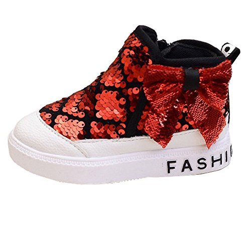 getmorebeauty Girls Red Bling Sequins Sports Kids Babies Walking Sneakers Ankle Boots 1 B(M) US Little Kid