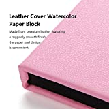 Paul Rubens Watercolor Paper Block, Premium Leather Cover Artist Quality Hot Pressed Paper for Watercolors and Wet Media Block, 100 Percent Cotton, 7.68 x 5.31 inches, 140lb, 20 Sheets