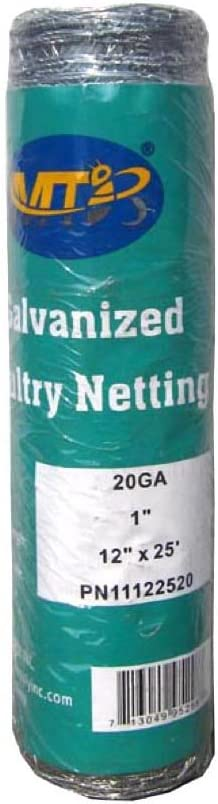 MTB 20GA Galvanized Hexagonal Poultry Netting Chicken Wire 12 inches x 25 feet x 1 inch Mesh