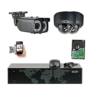 GW Security 5MP (2592x1920p) 8Ch NVR Home Security Camera System - HD 1920p 2.8~12mm Varifocal Zoom Weatherproof (2) Bullet and (2) Dome PoE IP Camera - 5 Megapixel (3,000,000 more pixels than 1080P)
