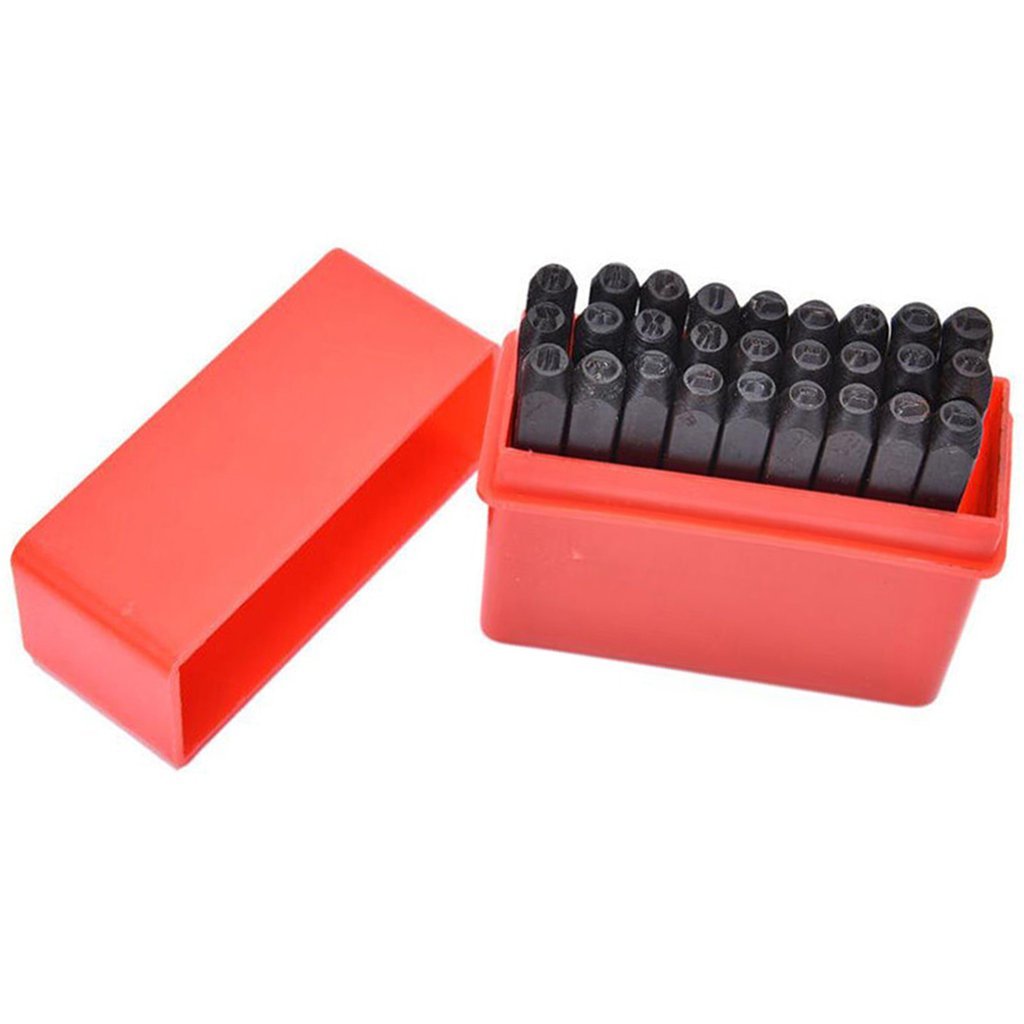 Flameer 27pcs// Set Automatic Letter Stamping Metal Punch Stamp Set Tool Kit A-Z Alphabet with /& 4mm// 5mm// 8mm Select 4mm - Black