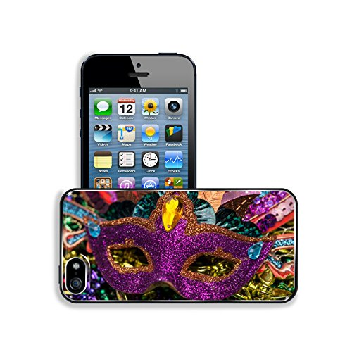 Luxlady Premium Apple iPhone 5 iphone 5S Aluminium Snap Case Close up view of purple sequined Mardi Gras mask with colorful beads out focus in the background IMAGE ID (Carnavale Costumes)