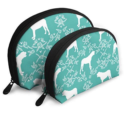 - English Mastiff Floral Dog Silhouette Fabric Dog Dogs Silhouette Dog Breed Dog Design Cute Dog Turquoise Portable Toiletry Bag Makeup Bag Portable Travel Bags Handbag Organizer with Zipper 2Pcs