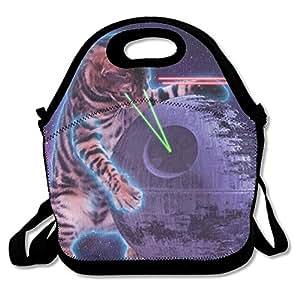 Cat Knight Laser Waterproof Reusable Neoprene Lunch Bags With Adjustable Shoulder Strap For Men Women Adults Kids Toddler Nurses
