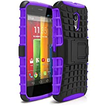 Moto G 2nd Gen Case, MagicMobile Hybrid Shockproof Protective Case for Motorola Moto G 2nd Gen (2014) (Shock Absorbing TPU + Hard Polycarbonate Layer) with Kickstand [Black/Purple]