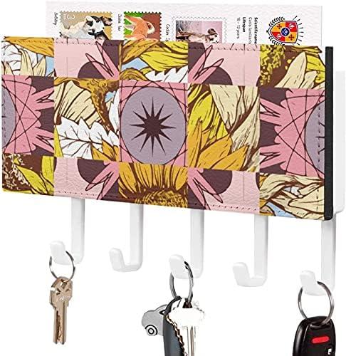 Sleutelhouder Wandgemonteerde sleutelhaak Kleurrijke Cactus en Planten Patroon Ontwerp Graphics Muur Entryway Mailhouder Decoratieve Key Organizer Rack met 5 HakenWitpatroon3