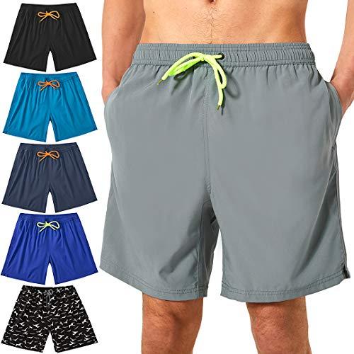 Felottis Mens Swim Trunks,Men Beach Shorts,Elastic Waist Board Shorts Mens Bathing Suit Light Grey