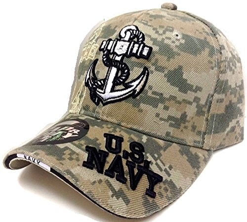 United States Navy Anchor 3D Embroidered Baseball Cap Hat (Camo)