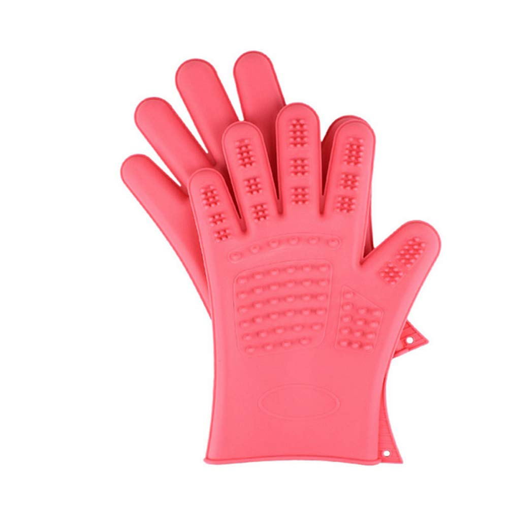&liyanan Pet Bathing Grooming Gloves Dog Cat Hair Cleaning Brush Comb Silicone Waterproof Five Fingers Deshedding Pet Glove - 1 Pair,Pink