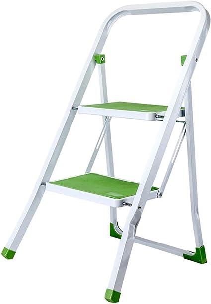 Escalera de dos peldaños multifunción, color negro/verde/blanco, escaleras plegables de hierro, taburete de escalera, taburete plegable para el hogar, jardín, estable, verde: Amazon.es: Oficina y papelería