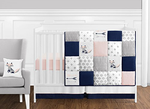 Sweet Jojo Designs 11-Piece Navy Blue, Pink, and Grey Patchwork Woodland Fox and Arrow Baby Girl Crib Bedding Set Without Bumper
