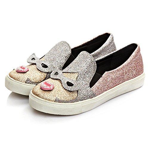 Women Pink Fashion Sneaker Glitter Slip-On Loafer Dolphin...