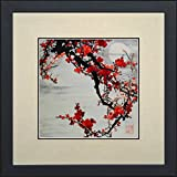 King Silk Art 100% Handmade Embroidery Feng Shui Large Framed Red Winter Plum Blossoms Under A Full Moon Oriental Wall Hanging Art Asian Decoration Tapestry Artwork Picture Gifts 36115WFB1