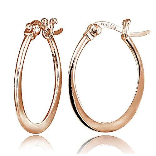 Hoops & Loops Rose Gold Flash Sterling Silver Flat Oval Hoop Earrings