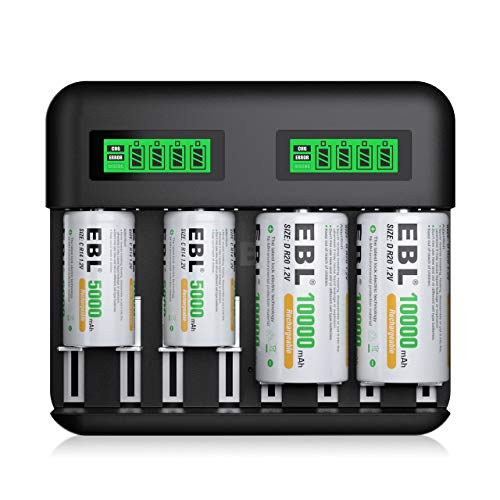 EBL LCD Battery Charger with Type C Input for AA AAA C D Rechargeable Batteries - 5000mAh C Battery x 2, 10000mAh D Batteries x 2, Battery Charger and C D High-capacity Rechargeable Batteries Set
