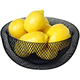 "The Iconic Modern Wire Mesh Fruit Bowl, Art Museum Style, Powder Coated Iron, Large, 11"", By Whole House Worlds"