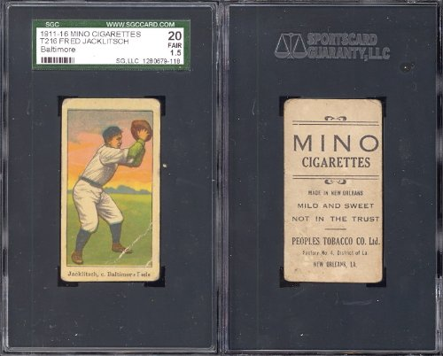 1911 mino cigarettes t216 (Baseball) Card# 38 fred jacklitsch of the baltimore fed Good Condition ()