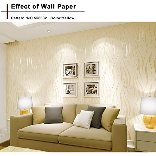 Flagup Wallpaper, 10m Modern Luxury Home Wall Decor Decal Sticker Non-woven 3D Wave Flocking Rolls (Roll Wall Decor)
