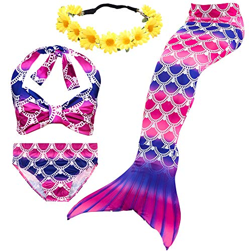 Halloween Mermaid Tail Swimsuit for Girls Swimming Pool Tropical Bikini Party Favors Role Play (3T / 4T, C Princess)