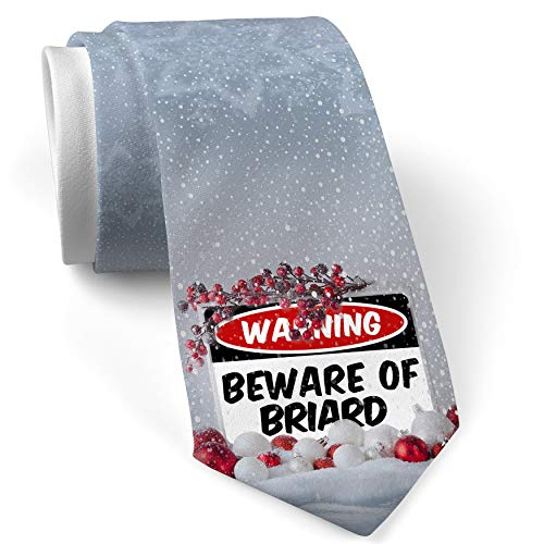 - Christmas NeckTie Beware of the Briard Dog from France White with Snow