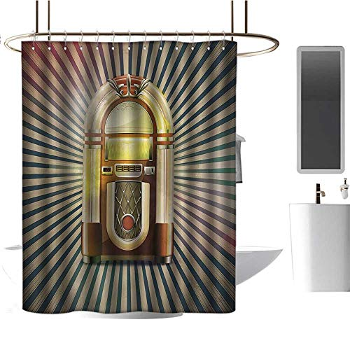 TimBeve Shower Curtain Liner Mildew Resistant Jukebox,Retro Vintage 50s Pin Up Inspired Striped Backdrop Old Music Box,Brown Beige and Petrol Green,for Bathroom Showers, Stalls and Bathtubs 72