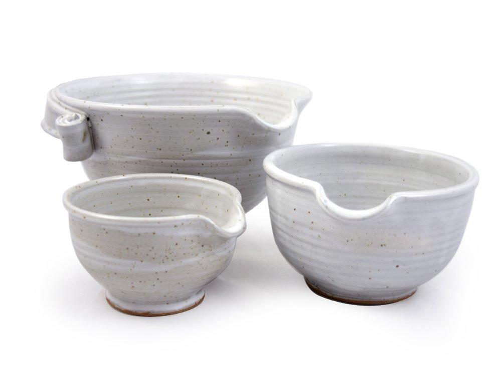 American Made Stoneware Pottery Batter Bowls, 3-Piece Nesting Set, Classic All-White Glaze
